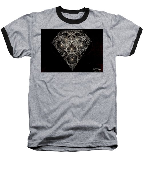 Baseball T-Shirt featuring the drawing Diamond White And Black by Jason Padgett