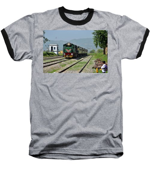 Baseball T-Shirt featuring the photograph Diesel Electric Locomotive Speeds Past Student by Imran Ahmed