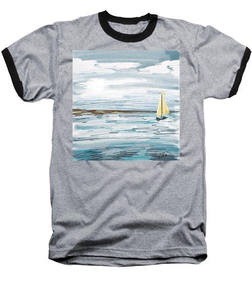 Digital Seascape In Blue Baseball T-Shirt
