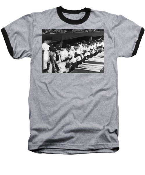 Dimaggio In Yankee Dugout Baseball T-Shirt by Underwood Archives