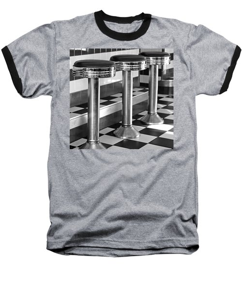 Diner Stools Baseball T-Shirt by Lisa Phillips