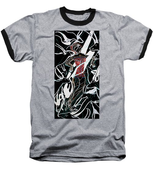 Baseball T-Shirt featuring the painting Dinka Dance by Gloria Ssali