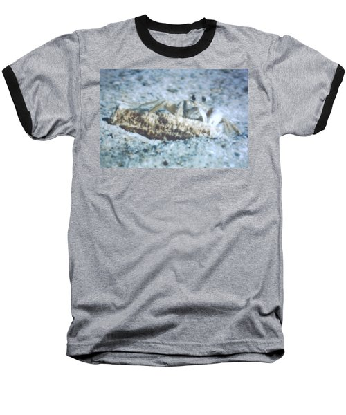 Baseball T-Shirt featuring the photograph Beach Crab Snacking by Belinda Lee
