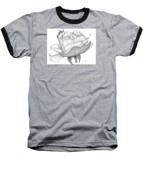 Baseball T-Shirt featuring the drawing Distant Drum Rose Bloom by Patricia Hiltz