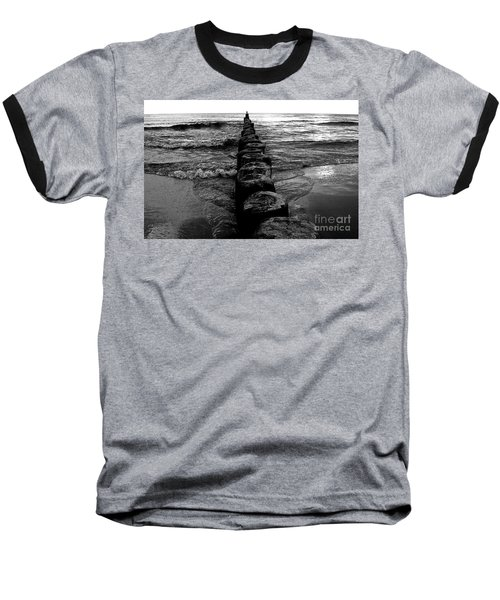 Distant Seagull Baltic Beach Baseball T-Shirt by Andy Prendy