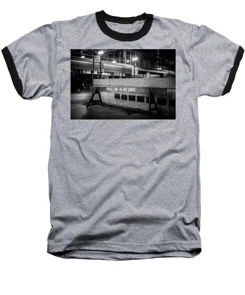 Do Not Cross Baseball T-Shirt by Melinda Ledsome