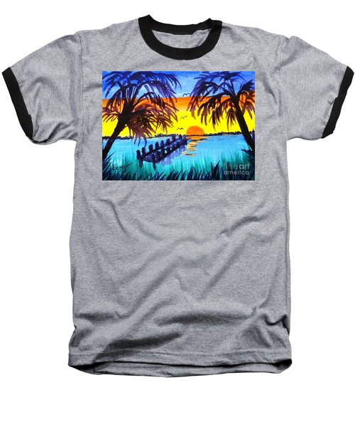 Baseball T-Shirt featuring the painting Dock At Sunset by Ecinja Art Works
