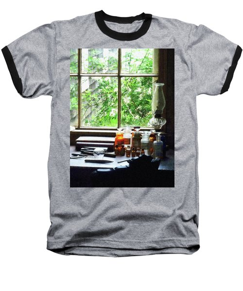 Baseball T-Shirt featuring the photograph Doctor - Medicine And Hurricane Lamp by Susan Savad