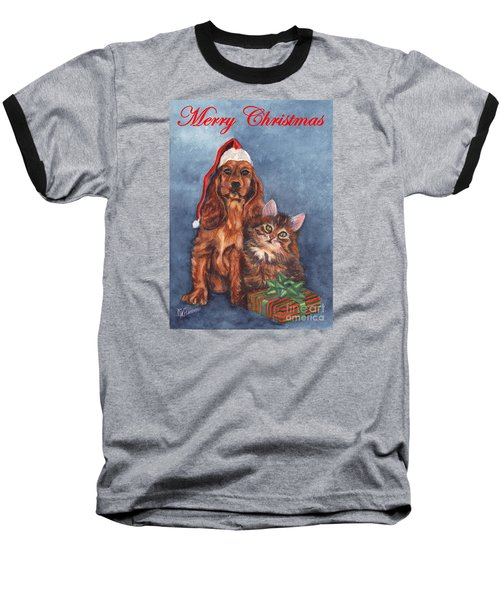 Baseball T-Shirt featuring the painting Dog And Cat Merry Christmas   by Carol Wisniewski