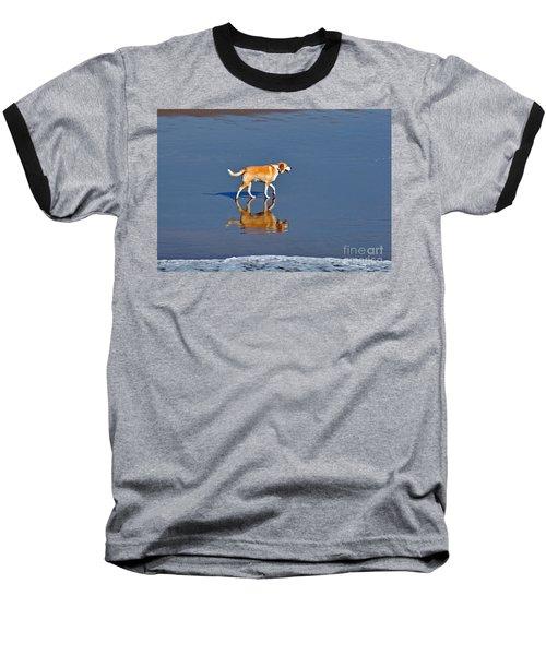 Dog On Water Mirror Baseball T-Shirt by Susan Wiedmann