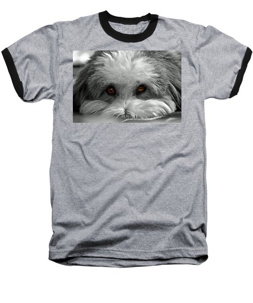 Coton Eyes Baseball T-Shirt by Keith Armstrong