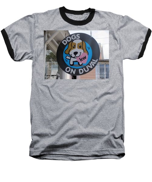 Dogs On Duval Baseball T-Shirt by Fiona Kennard