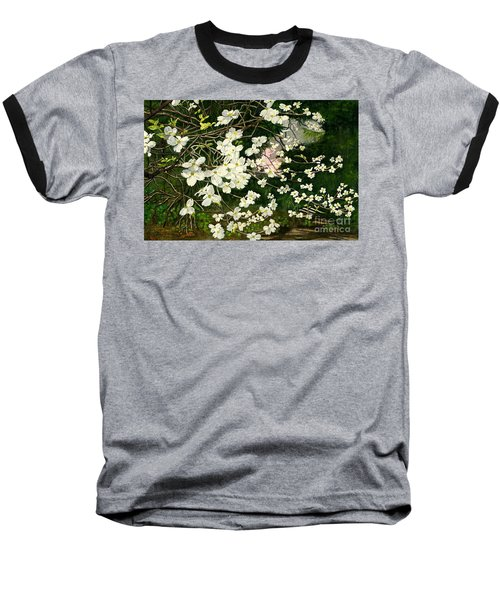 Baseball T-Shirt featuring the painting Dogwoods Virginia by Melly Terpening