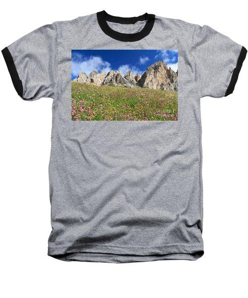 Baseball T-Shirt featuring the photograph Dolomiti - Flowered Meadow  by Antonio Scarpi