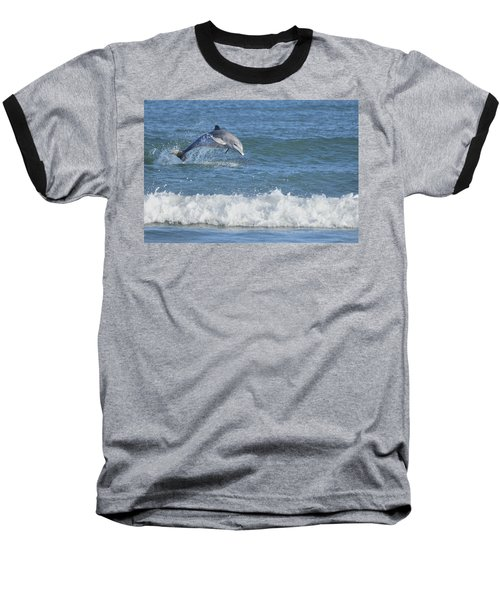 Dolphin In Surf Baseball T-Shirt