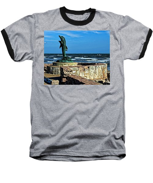 Dolphin Statue Baseball T-Shirt by Judy Vincent