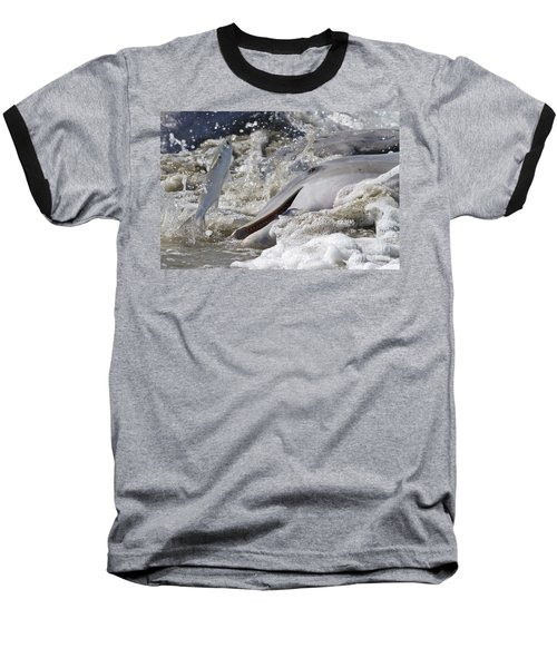 Dolphin Strand Feeding 2 Baseball T-Shirt