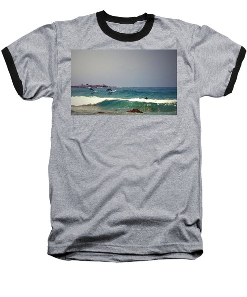 Dolphins Swimming With The Surfers At Asilomar State Beach  Baseball T-Shirt by Joyce Dickens