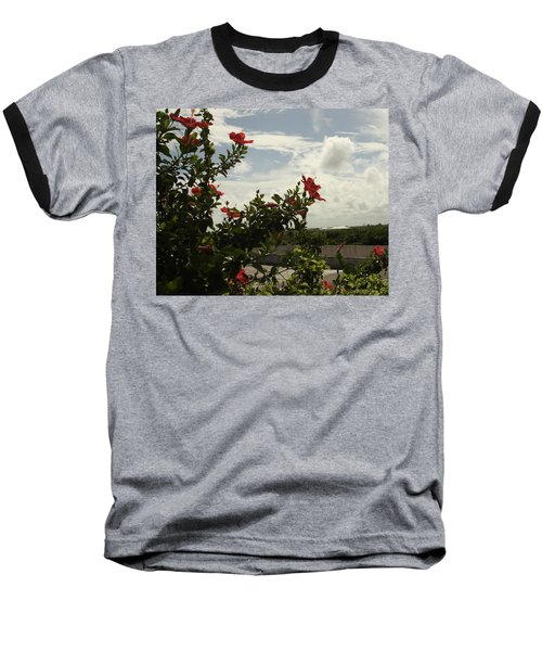 Dominican Red Flower Baseball T-Shirt