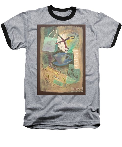Baseball T-Shirt featuring the painting Don't Be Blue by Mini Arora