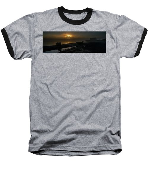 Baseball T-Shirt featuring the photograph Dories Beached In Lifting Fog by Marty Saccone