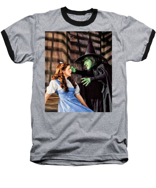 Dorothy And The Wicked Witch Baseball T-Shirt by Dominic Piperata