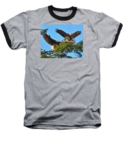 Baseball T-Shirt featuring the photograph Double Landing by Jack Moskovita