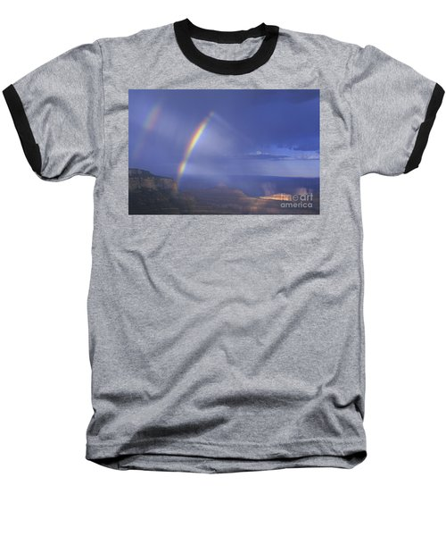 Baseball T-Shirt featuring the photograph Double Rainbow At Cape Royal Grand Canyon National Park by Dave Welling