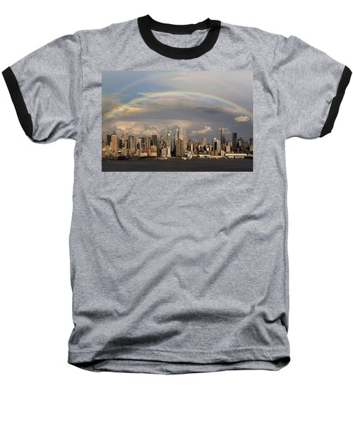 Double Rainbow Over Nyc Baseball T-Shirt by Susan Candelario