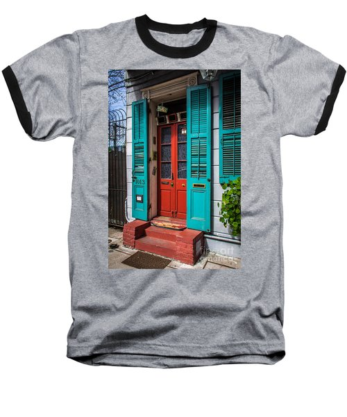 Double Red Door Baseball T-Shirt by Perry Webster