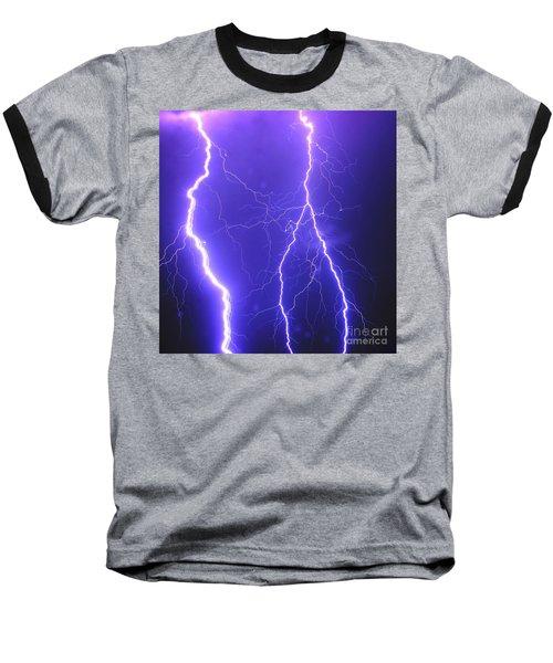Double Triple Blue Lightning Baseball T-Shirt
