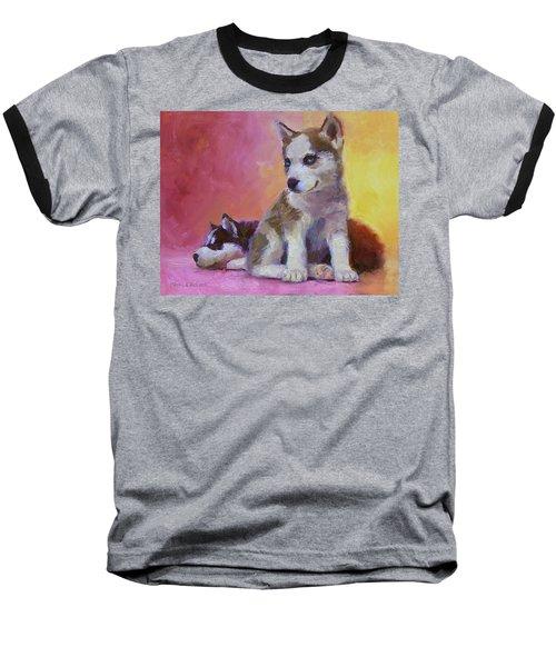 Double Trouble - Alaskan Husky Sled Dog Puppies Baseball T-Shirt