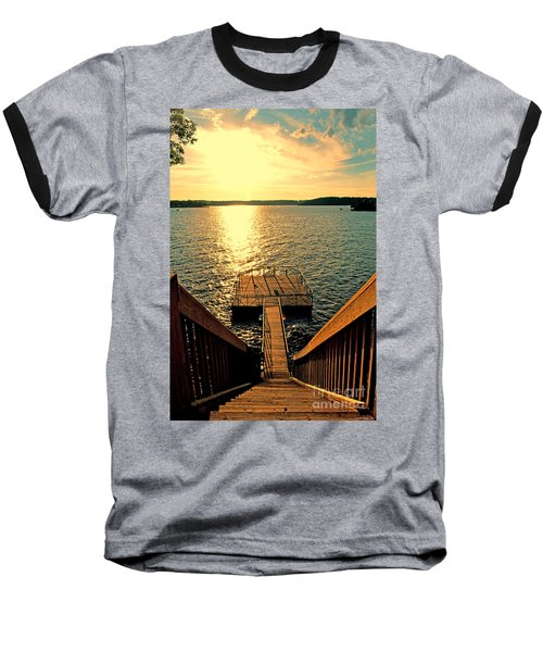 Down To The Fishing Dock - Lake Of The Ozarks Mo Baseball T-Shirt