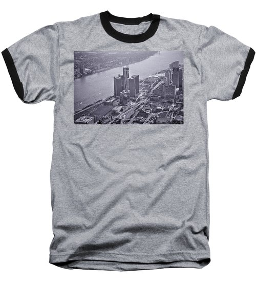 Downtown Detroit Baseball T-Shirt by Nicholas  Grunas