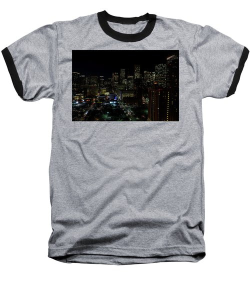 Downtown Houston At Night Baseball T-Shirt by Judy Vincent