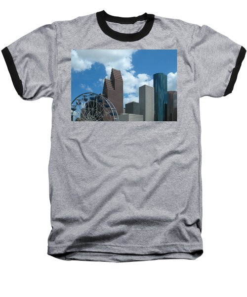 Downtown Houston With Ferris Wheel Baseball T-Shirt by Connie Fox