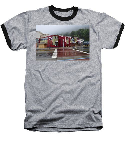 Baseball T-Shirt featuring the photograph Downtown Juneau On A Rainy Day by Cathy Mahnke