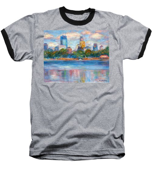 Downtown Minneapolis Skyline From Lake Calhoun II - Or Commission Your City Painting Baseball T-Shirt
