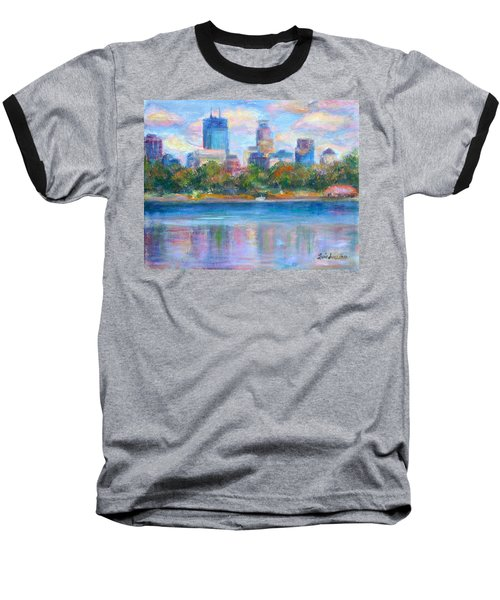 Downtown Minneapolis Skyline From Lake Calhoun Baseball T-Shirt