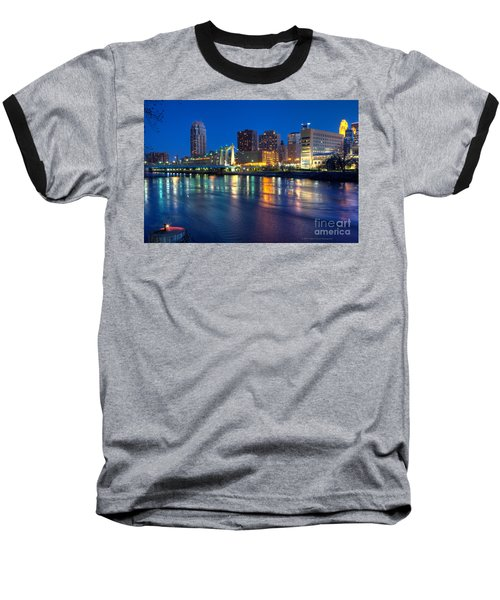 Downtown Minneapolis Skyline Hennepin Avenue Bridge Baseball T-Shirt