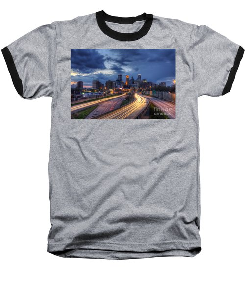 Downtown Minneapolis Skyline On 35 W Sunset Baseball T-Shirt