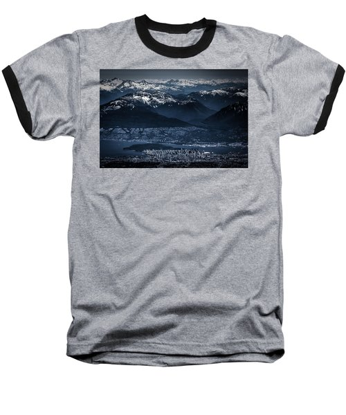 Downtown Vancouver And The Mountains Aerial View Low Key Baseball T-Shirt by Eti Reid
