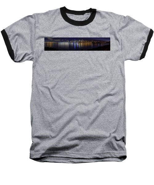 Downtown Vancouver Skyline By Night Baseball T-Shirt