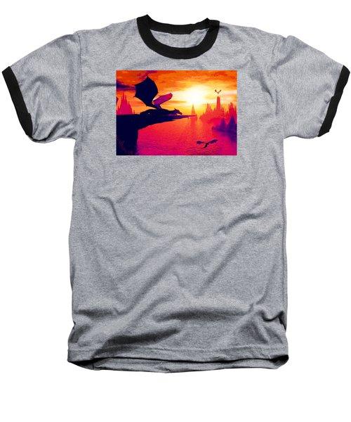 Awesome Dragon Baseball T-Shirt by David Mckinney