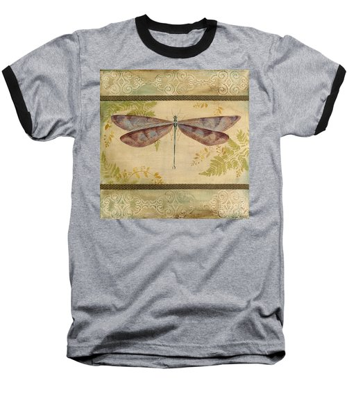 Dragonfly Among The Ferns-3 Baseball T-Shirt by Jean Plout