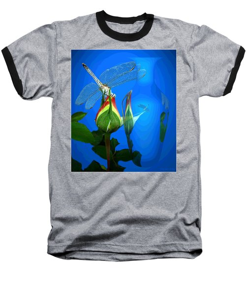 Baseball T-Shirt featuring the photograph Dragonfly And Bud On Blue by Joyce Dickens