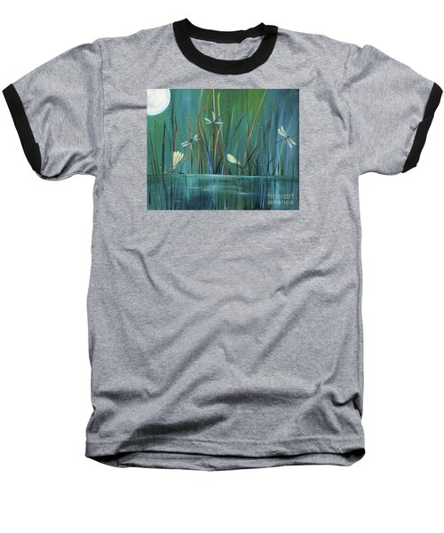 Baseball T-Shirt featuring the painting Dragonfly Diner by Carol Sweetwood