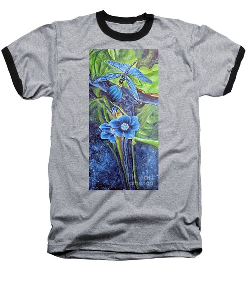 Baseball T-Shirt featuring the painting Dragonfly Hunt For Food In The Flowerhead by Kimberlee Baxter