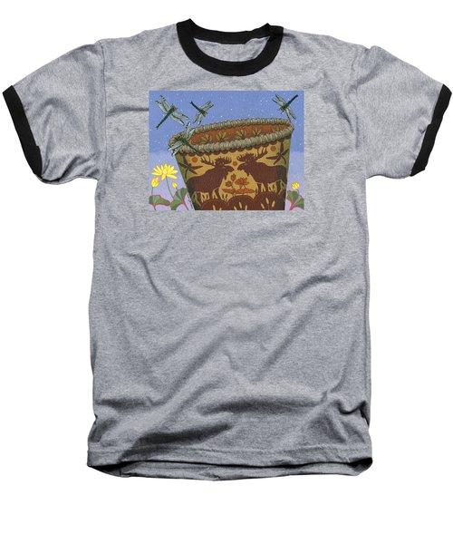 Baseball T-Shirt featuring the painting Dragonfly - Cohkanapises by Chholing Taha