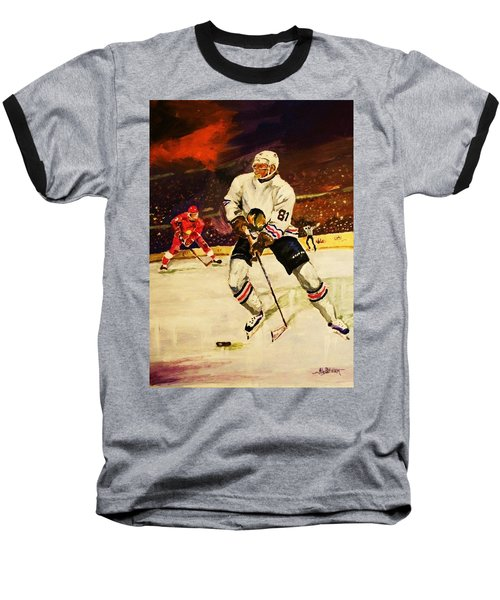 Baseball T-Shirt featuring the painting Drama On Ice by Al Brown